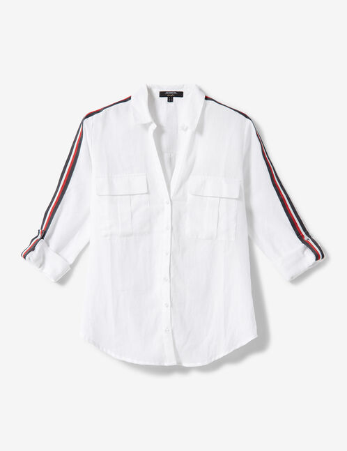 White shirt with stripe detail