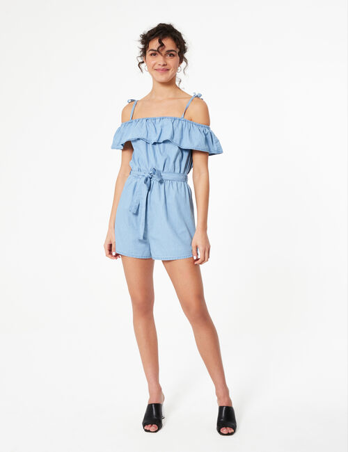 Denim playsuit with frill