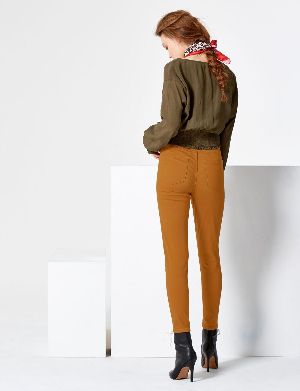 pantalon avec ceinture marron femme jennyfer. Black Bedroom Furniture Sets. Home Design Ideas
