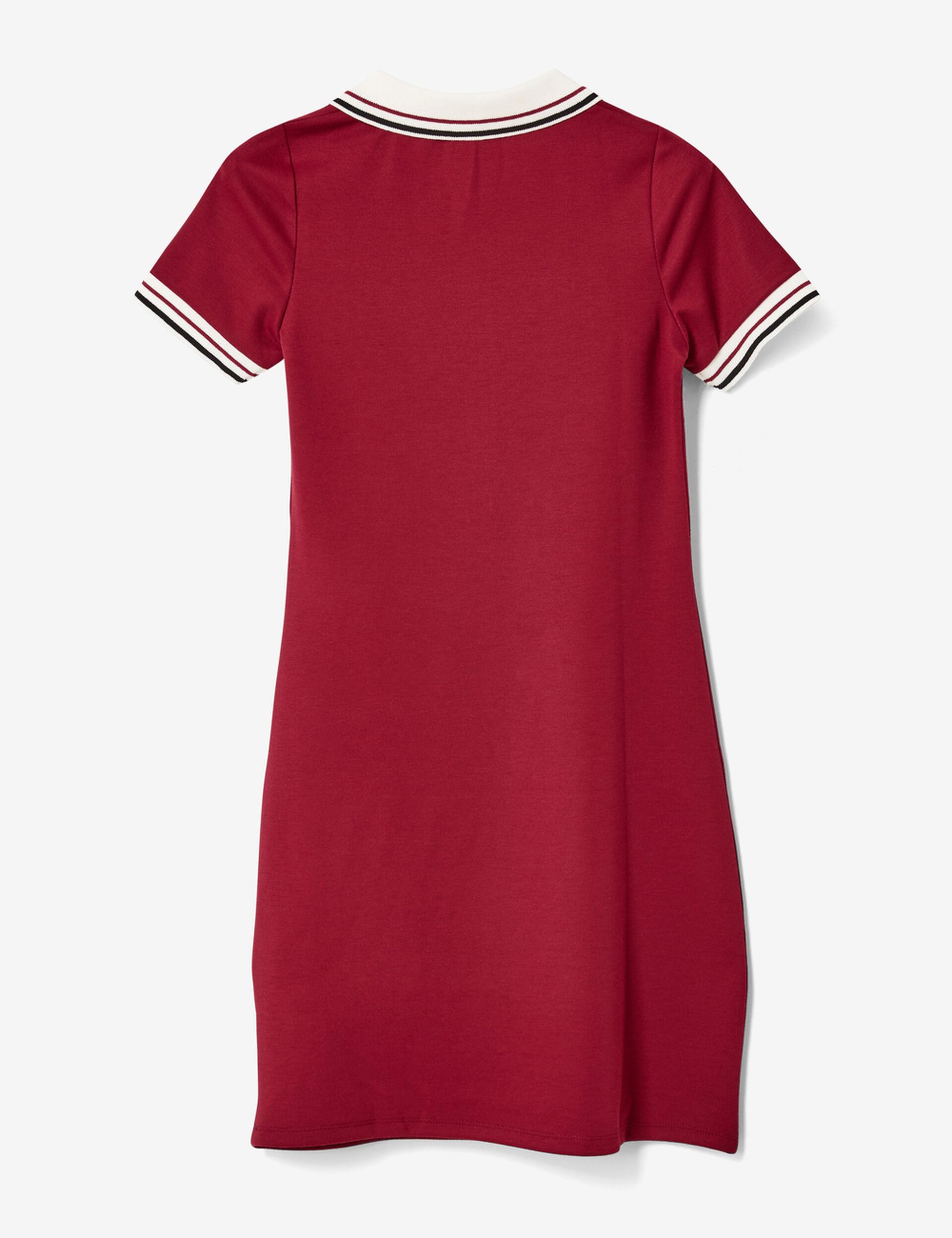 Burgundy zipped polo shirt dress