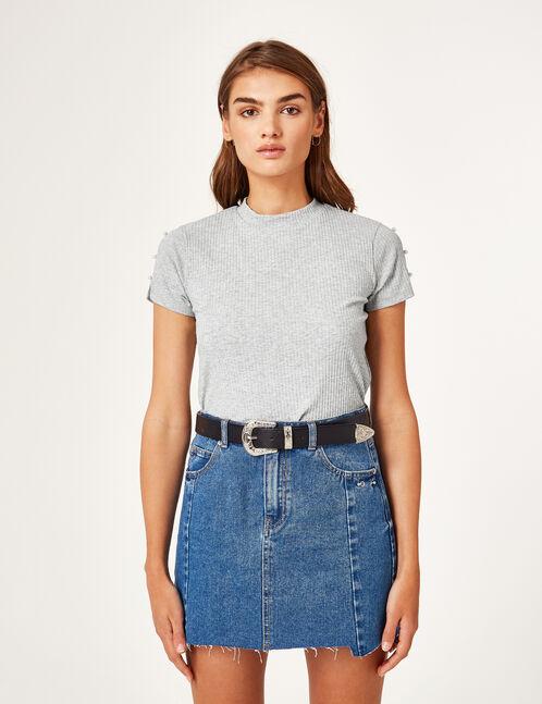 tee-shirt avec perles gris chiné