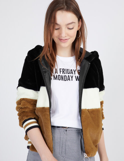 veste imitation fourrure camel, blanc et noir