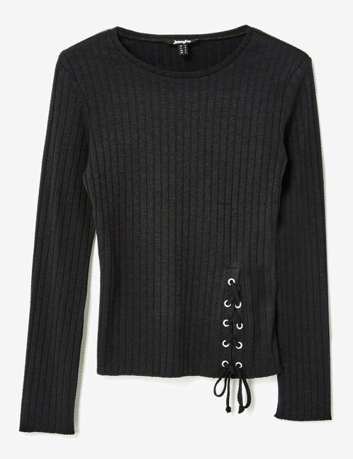 tee-shirt côtelé à laçages noir