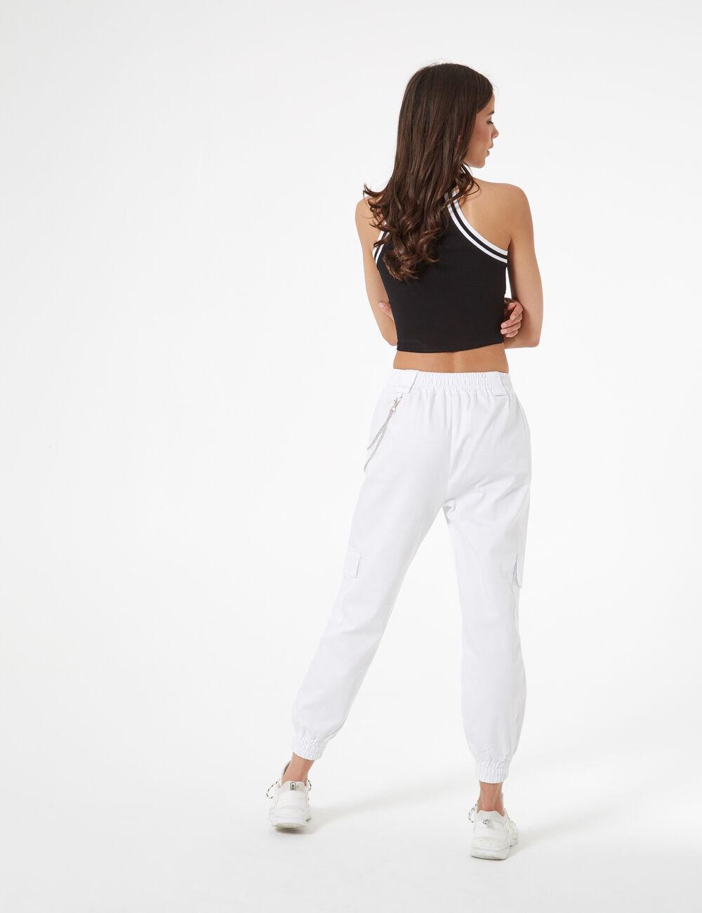 prix abordable 100% authentique Beau design Pantalon cargo avec chaîne femme • Jennyfer
