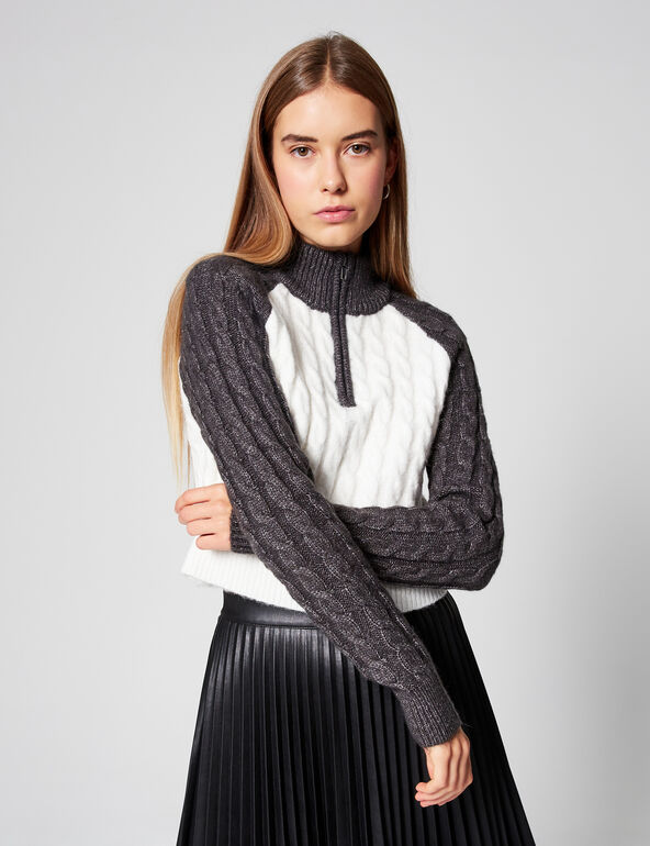 High-necked cropped jumper