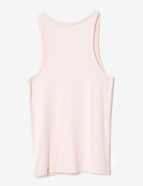 Basic light pink ribbed tank top