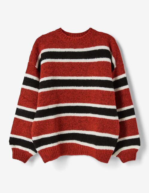 pull rayé rouge, noir et blanc