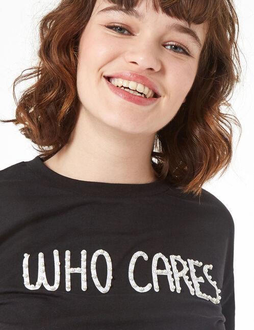 beaded who cares T-shirt