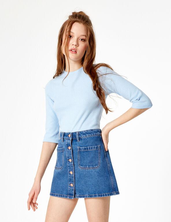 Button-up medium blue denim skirt