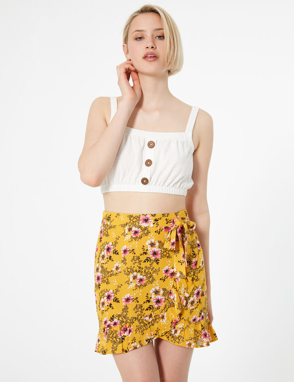 Ochre floral skirt with frill detail