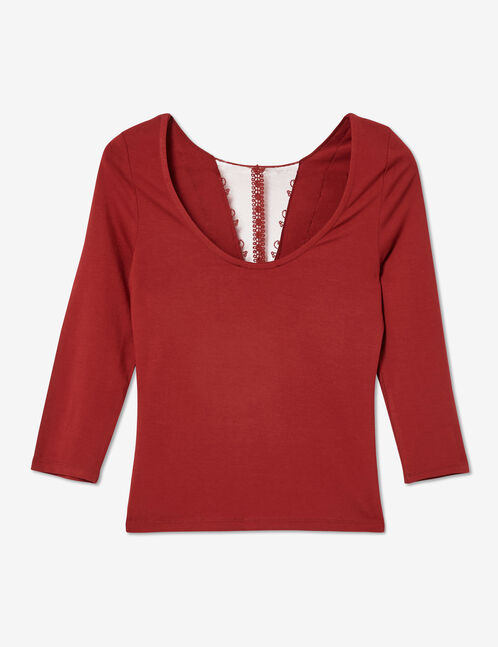 Burgundy T-shirt with lace detail