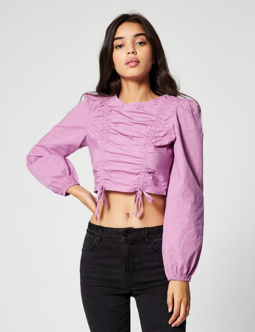 Ruched blouse with ties