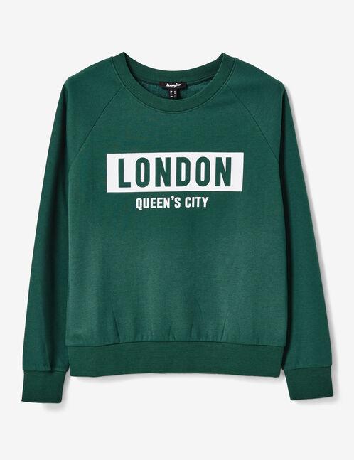 Dark green sweatshirt with text design detail