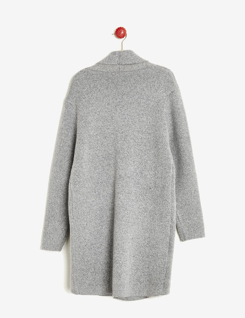 Long grey knitted blazer-style cardigan