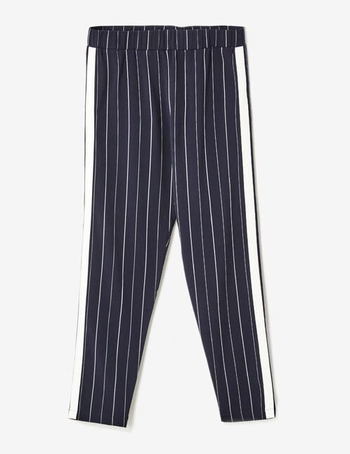 Navy pinstripe trousers