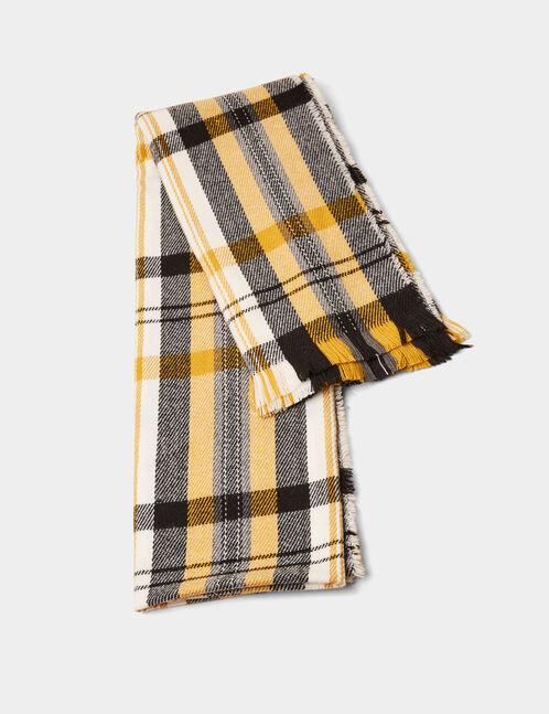 Black, cream and ochre tartan scarf
