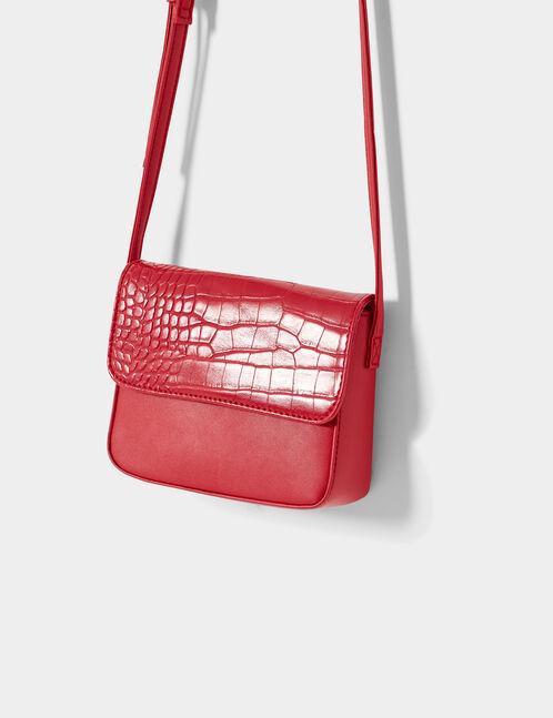 sac avec rabat python rouge