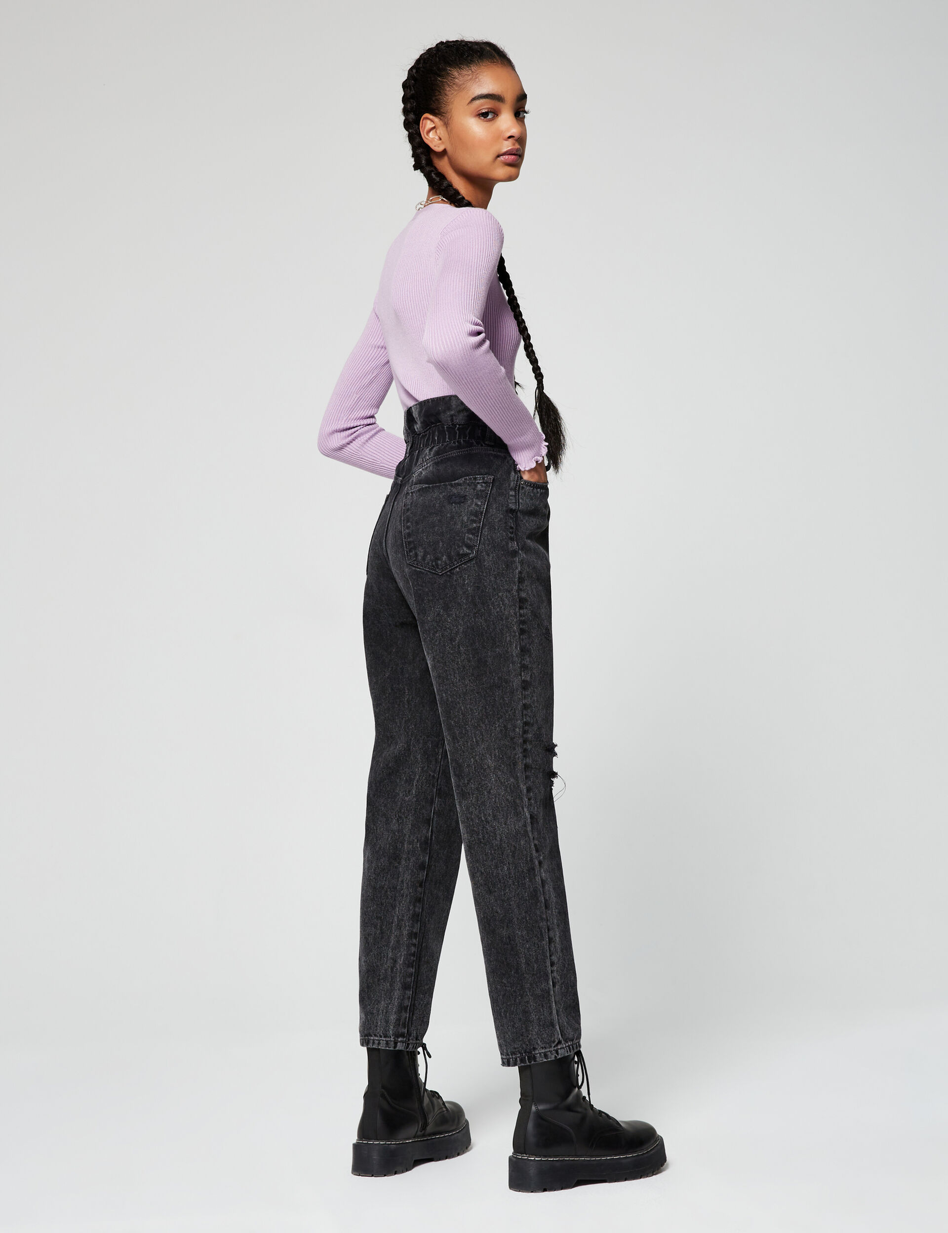 Jean paper bag taille haute