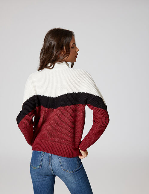 Burgundy, black and cream zipped tricolour jumper