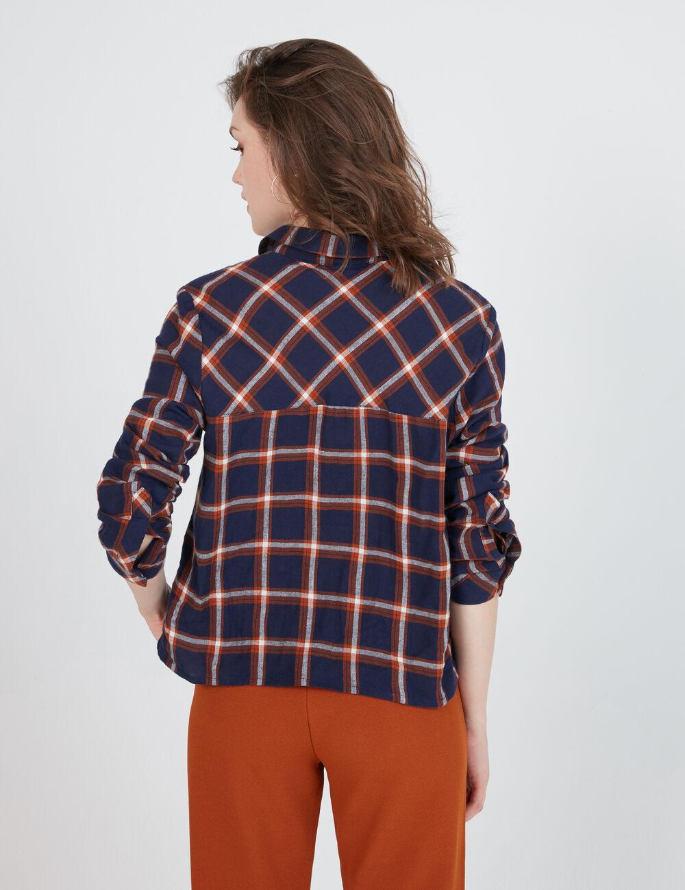 chemise courte carreaux bleu marine marron et blanche. Black Bedroom Furniture Sets. Home Design Ideas