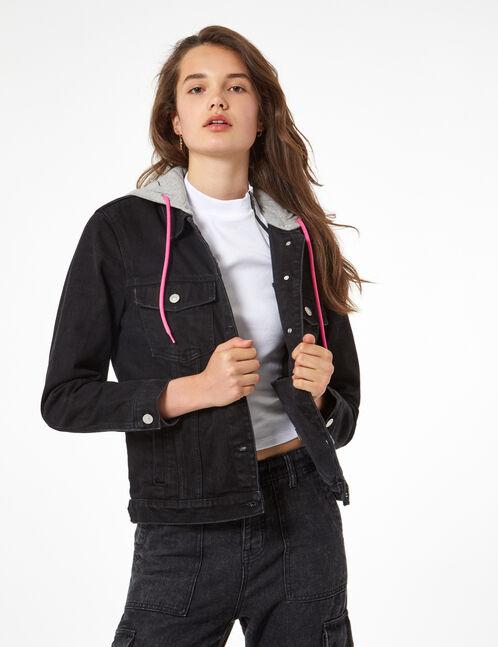 veste en jean à capuche