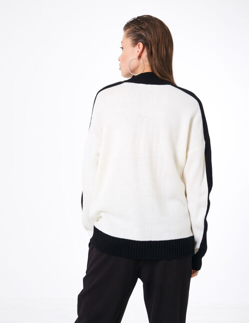 Long black and cream jumper with text design detail