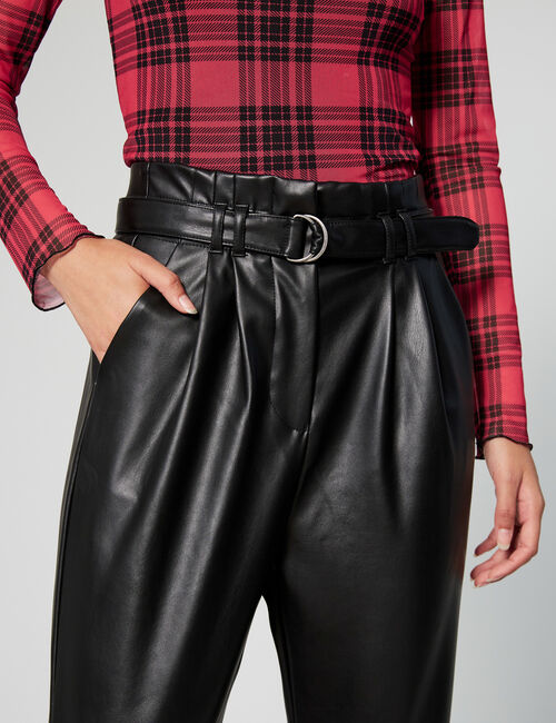 Imitation leather trousers with belt