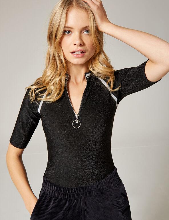 Black bodysuit with zip detail