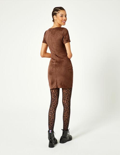 Camel faux suede dress