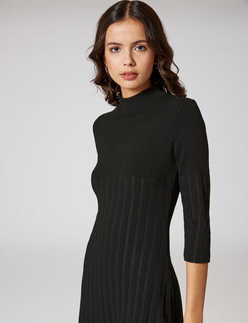 robe côtelée noire