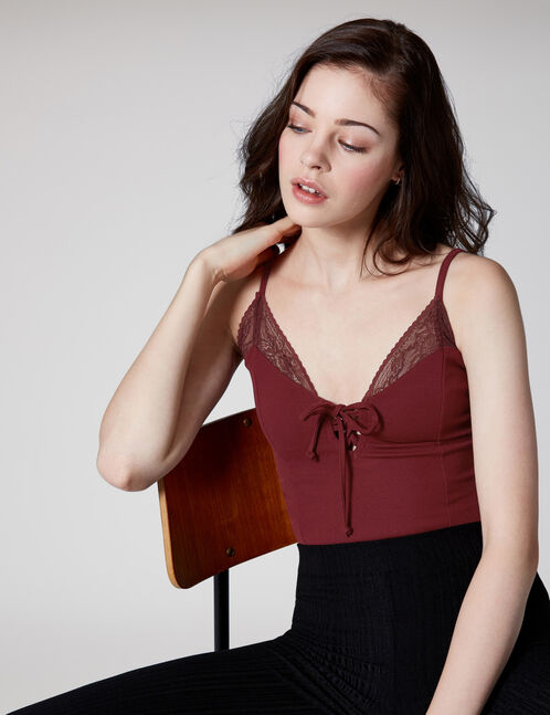 Plum bodysuit with lace and lacing details