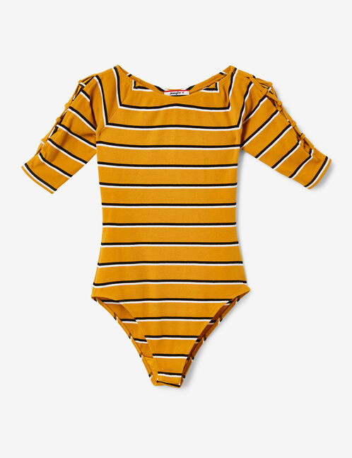Ochre, black and white striped bodysuit with lacing detail