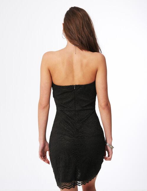Black strapless lace dress