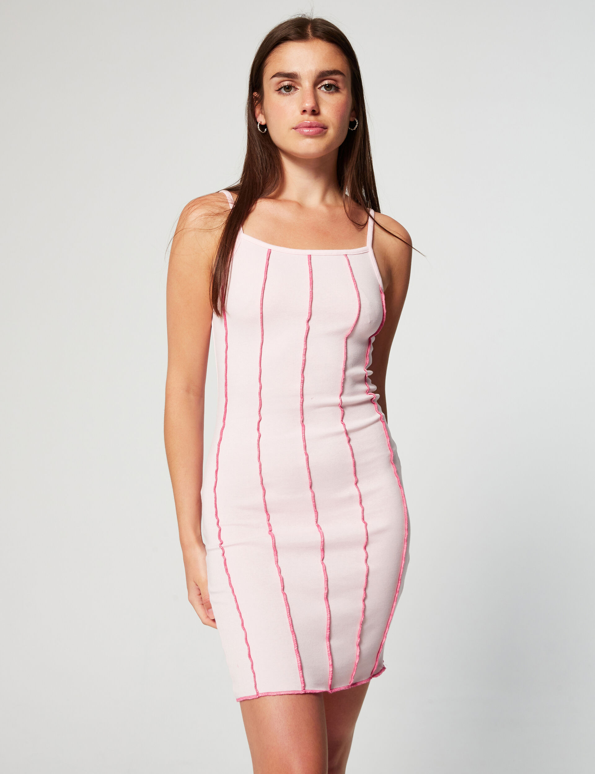 Dress with topstitched details