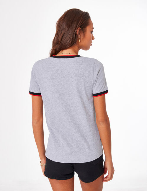 Grey marl T-shirt with text design detail