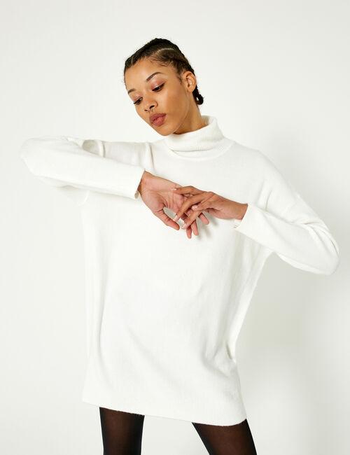 Cream polo neck jumper dress
