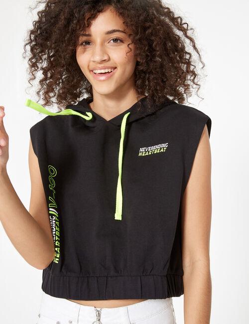 Sleeveless slogan sweatshirt