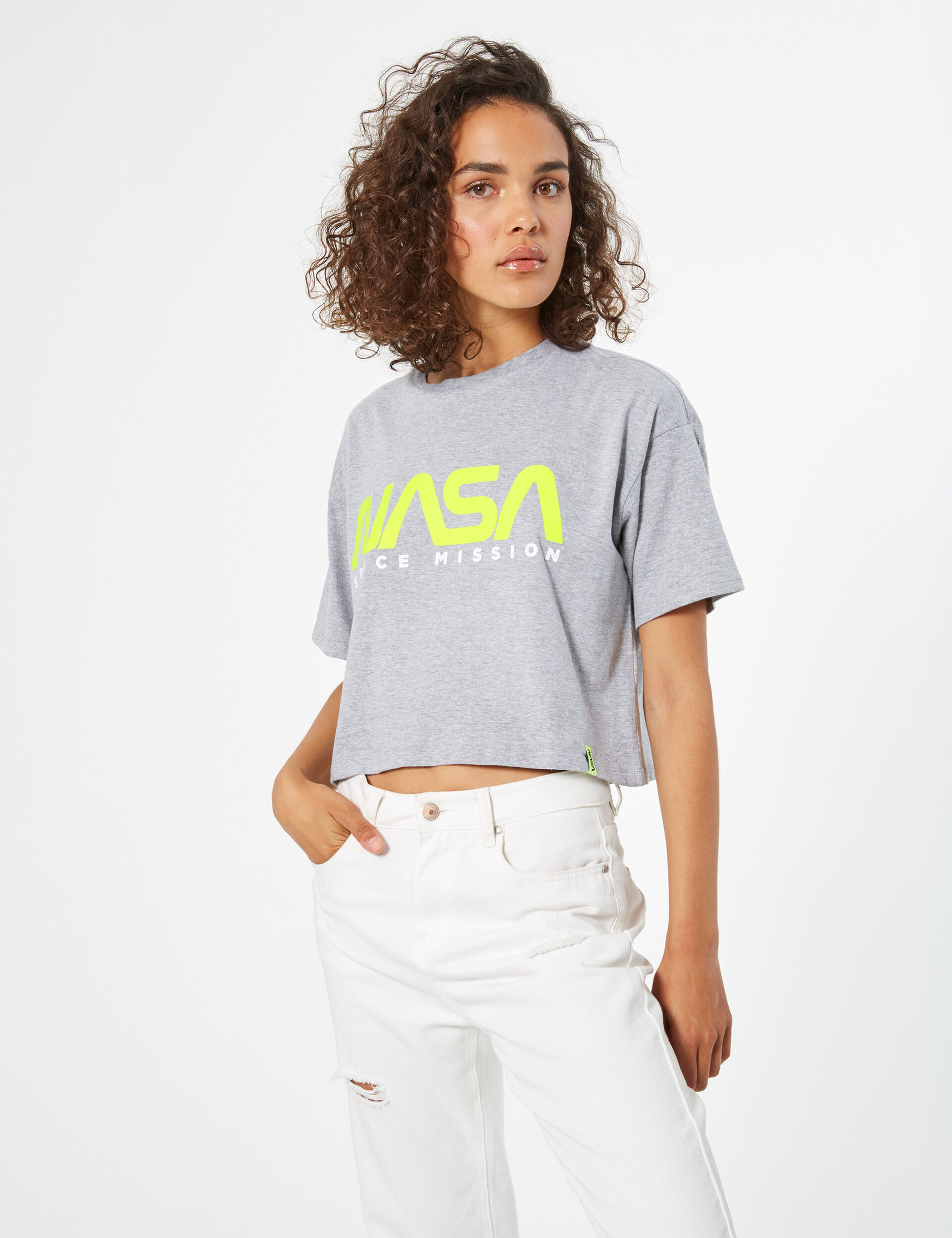 Tee-shirt crop NASA gris et jaune fluo