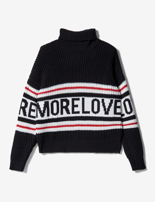 "Black, white and red ""more love"" jumper"