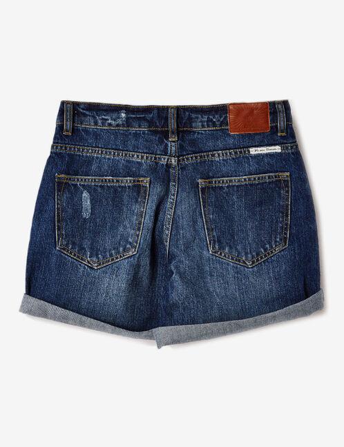 Medium blue denim turn-up shorts