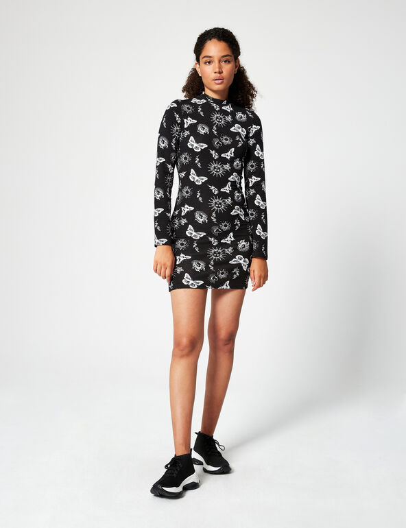 Printed high-necked dress