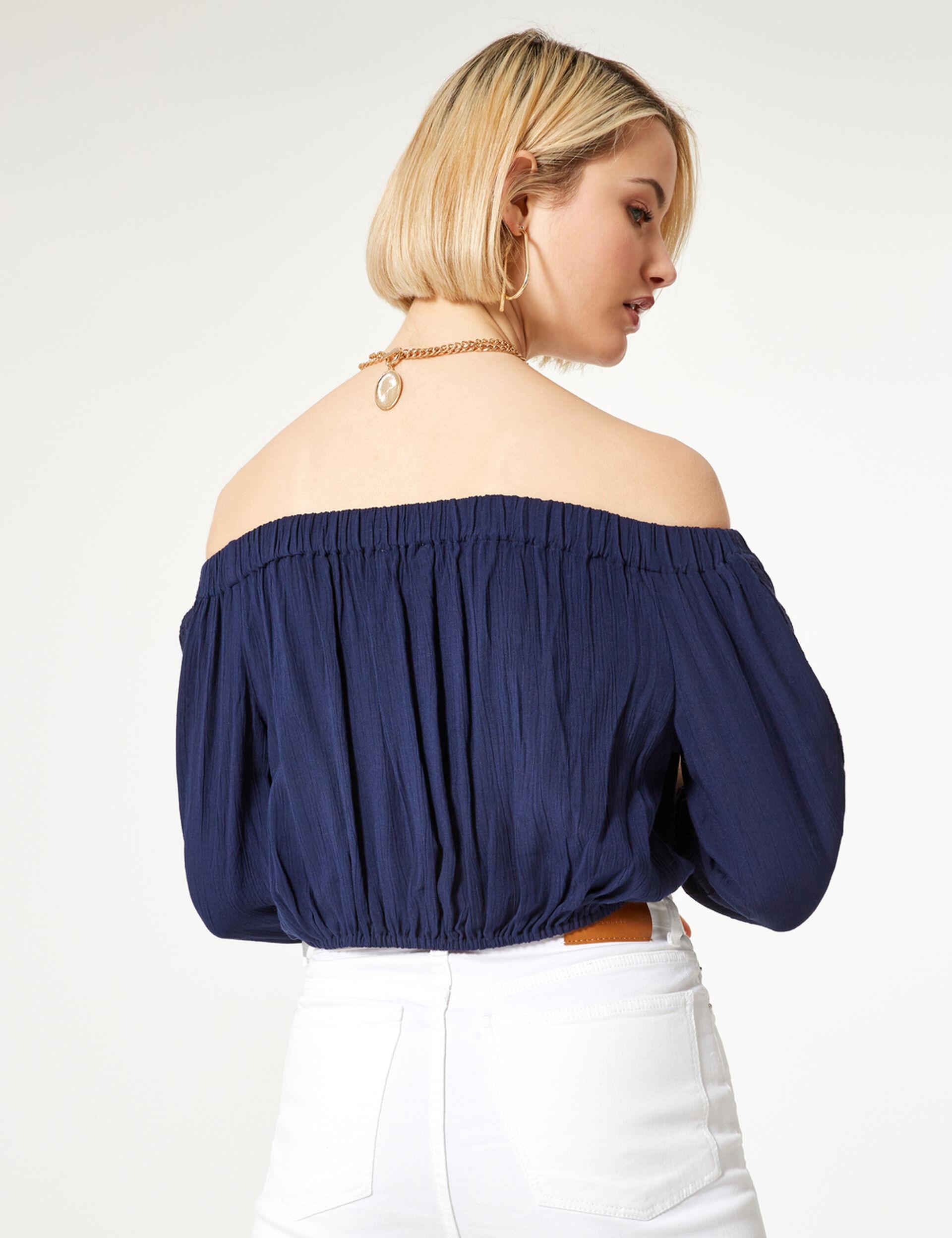 Blue cold-shoulder blouse
