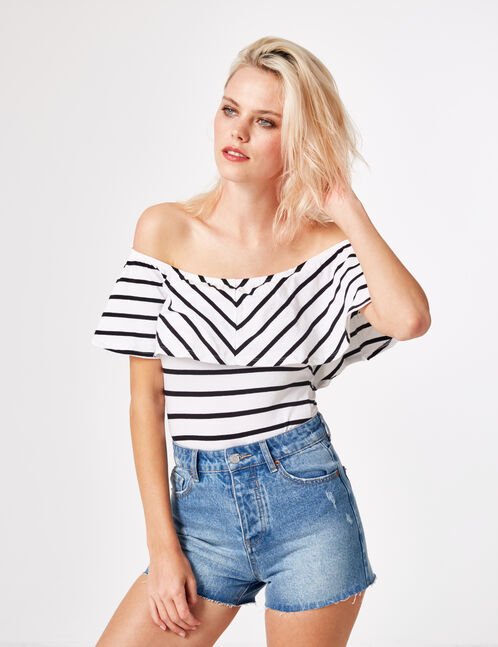 White striped bodysuit with frill detail