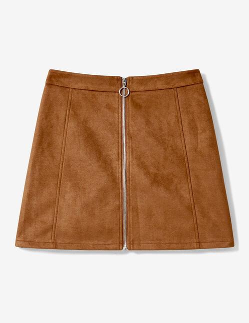 jupe zippée en suédine camel