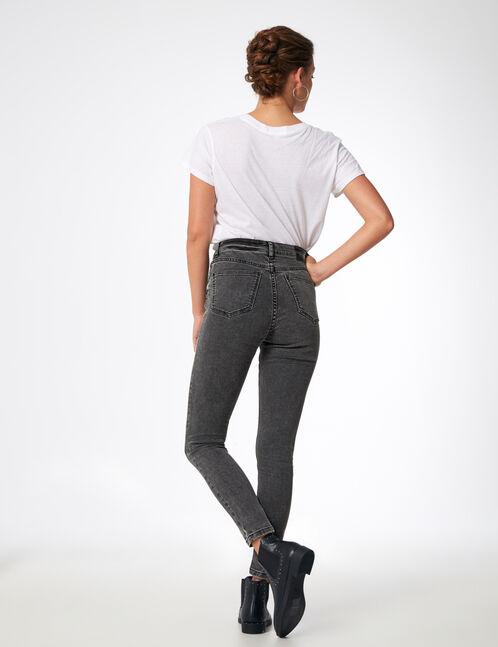 jean super skinny taille haute gris