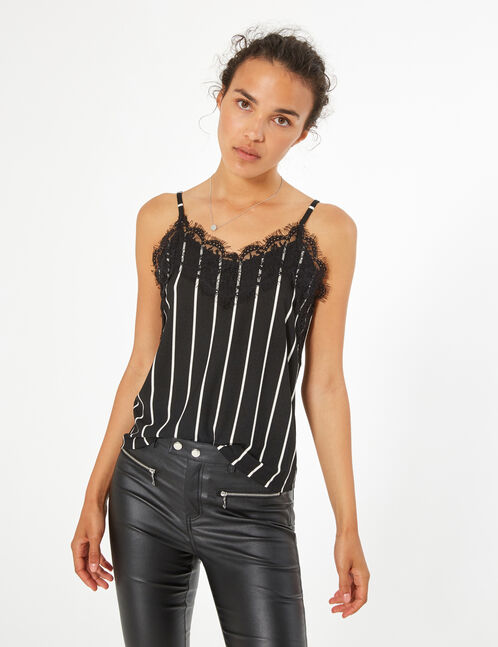 striped camisole with lace detail