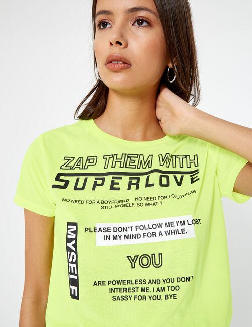 Neon yellow superlove t-shirt