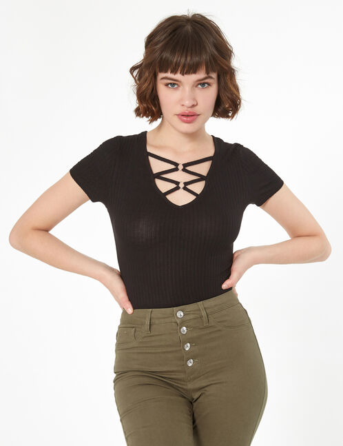 ribbed plunging bodysuit with strap detail