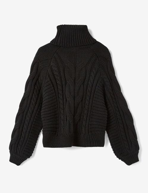 pull tressé col roulé noir