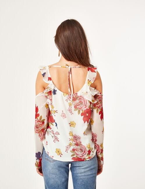 Cream cold shoulder blouse